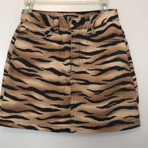 Tiger print denim mini skirt
